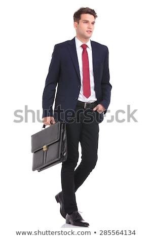 элегантный деловой человек костюм черный портфель Сток-фото © jaycriss