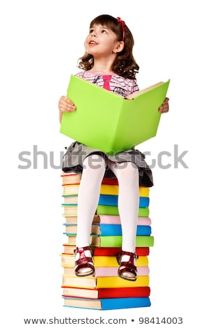 笑みを浮かべて · 女の子 · 読む · 図書 · 孤立した · 白 - ストックフォト © Elisanth