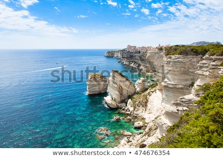 Houses built on rocks at the citadel in Corsica Stock photo © Joningall