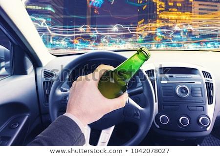 Bêbado homem carro garrafa álcool estrada Foto stock © vladacanon