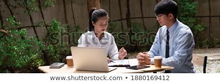 Dois empresárias discussão fora prédio comercial negócio Foto stock © monkey_business