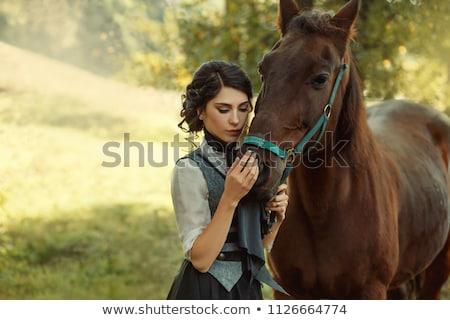 girl makes horse riding Stock photo © adrenalina