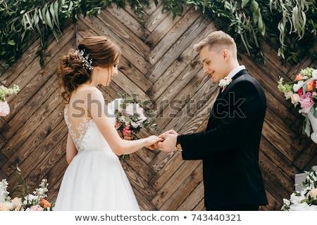 Wedding ceremony in church Stock photo © orensila