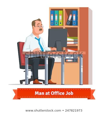 Fáradt férfi mögött asztal számítógép munka Stock fotó © gemenacom