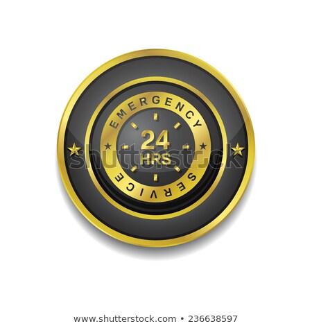 24 Hours Emergeny Servie Gold Vector Icon Stock photo © rizwanali3d