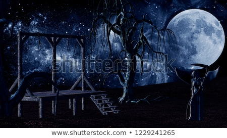 Angel of Death - Spooky Night background with Gallows, Crows, Creepy Trees and Devil head Stock photo © ankarb