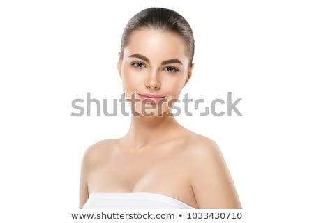 portrait of beautiful young brunette woman with clean face stock photo © deandrobot
