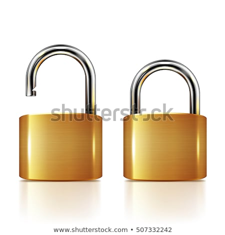 unlock golden vector icon button stock photo © rizwanali3d