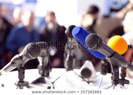 Mikrofon basın toplantısı odak bulanık konuşmacı iletişim Stok fotoğraf © wellphoto