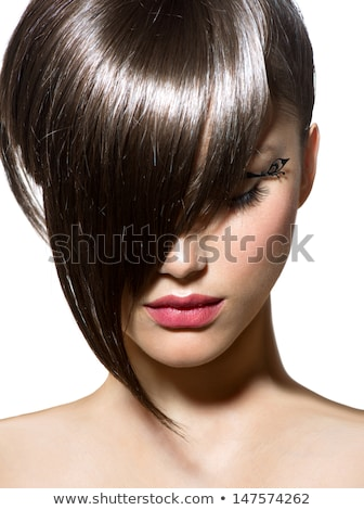 Makeup. Fashion bob Haircut. Hairstyle. Long Fringe. Short Hair  Stock photo © Victoria_Andreas