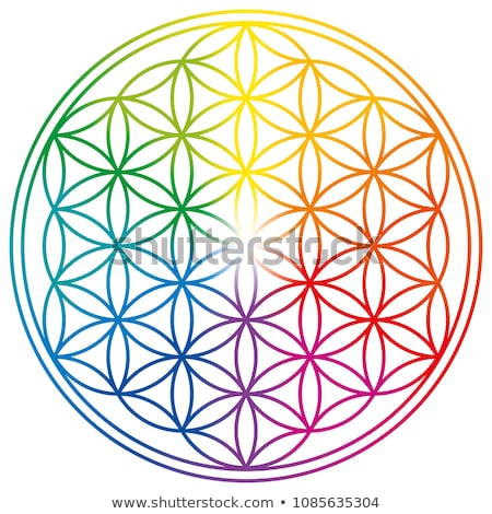 Stock photo: mandala flower, rainbow colors in circles over blue