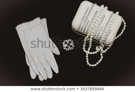 Bianco perle collana bianco nero nero abstract Foto d'archivio © manaemedia