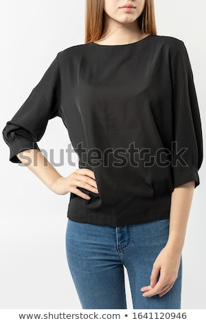 брюнетка черный блузка довольно большой сумку Сток-фото © acidgrey