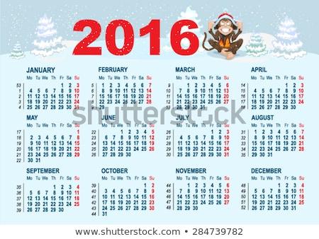 Foto stock: 2016 · calendário · modelo · macaco · sessão · neve