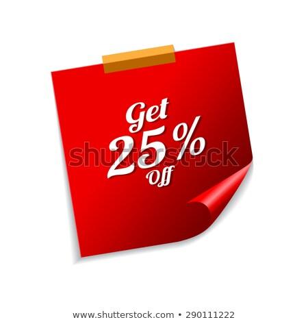 25 por cento vermelho notas vetor ícone Foto stock © rizwanali3d