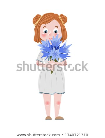 Blue Cornflower young girl, vector illustration Stock photo © carodi