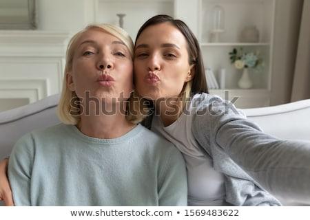 kadın · öpücük · kafkas · oturma · bar - stok fotoğraf © deandrobot