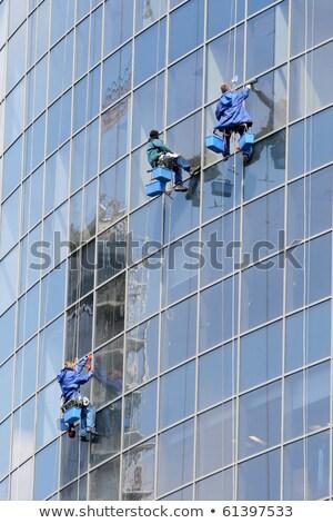 Três janela lavar windows vidro fachada Foto stock © smuki