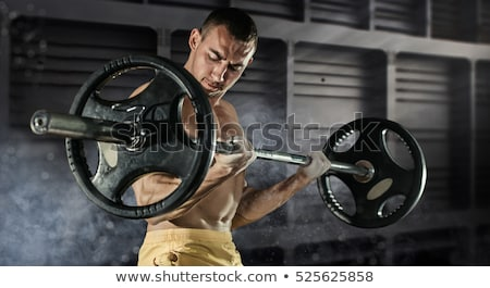 Professionele bodybuilder training barbell portret Stockfoto © deandrobot