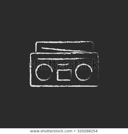 radyo · kaset · oyuncu · kroki · ikon · vektör - stok fotoğraf © rastudio