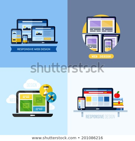 Reszponzív hálózat elrendezés telefon modern web design Stock fotó © netkov1