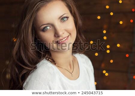 Mooie vrouw pels vergadering christmas kerstboom Stockfoto © dashapetrenko