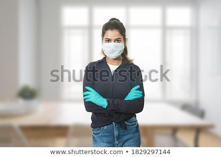 áll nő visel latex ruházat nők Stock fotó © phbcz