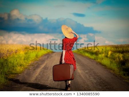Jonge vrouw Geel koffer weg aantrekkelijk Stockfoto © vlad_star