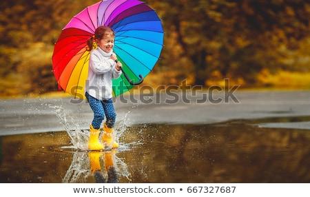 kicsi · lány · esernyő · boldog · visel · esőkabát - stock fotó © paha_l