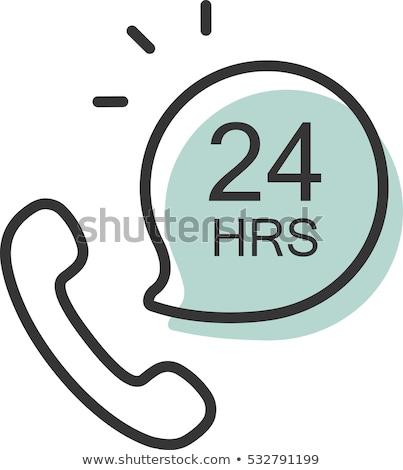 24 телефон доверия поддержки синий вектора икона Сток-фото © rizwanali3d