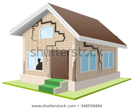 Earthquake cracked wall of house. Vacation home. Property insurance Stock photo © orensila