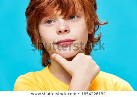 счастливым мало мальчика подбородок Cute Сток-фото © ozgur
