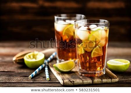 üveg jeges ital gyümölcs tea cseresznye Stock fotó © Digifoodstock