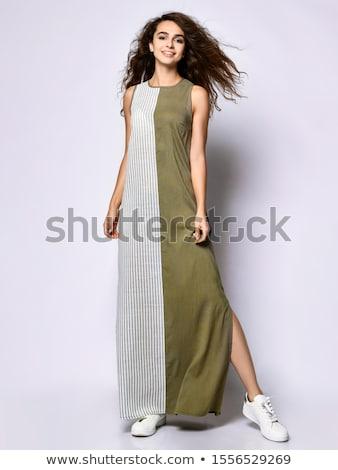 白人 少女 軍事 スタイル ドレス 孤立した ストックフォト © Elnur