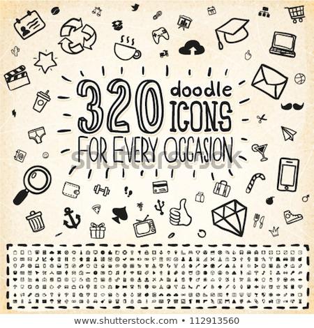 Doodle web winkel icon rond klok Stockfoto © pakete