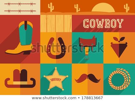 Cowboy csizma vad nyugat ikonok izolált divat Stock fotó © konturvid