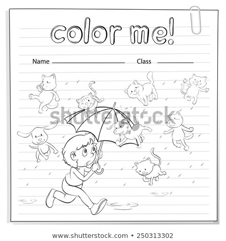 A worksheet showing a rain with cats and dogs Stock photo © bluering