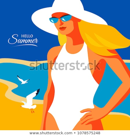 Beautiful blonde young woman in swinmsuit Stock photo © deandrobot