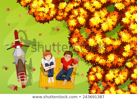 A topview of the park with a couple and a vehicle Stock photo © bluering