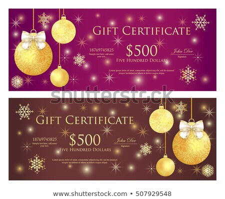 purple and brown gift certificate with golden christmas balls and sparkling background stock photo © liliwhite