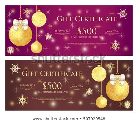 Stock fotó: Lila · barna · ajándékutalvány · arany · karácsony · golyók