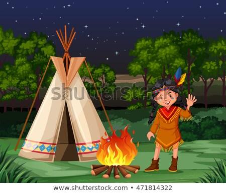 Kırmızı Hint kamp ateşi örnek kız yangın Stok fotoğraf © bluering