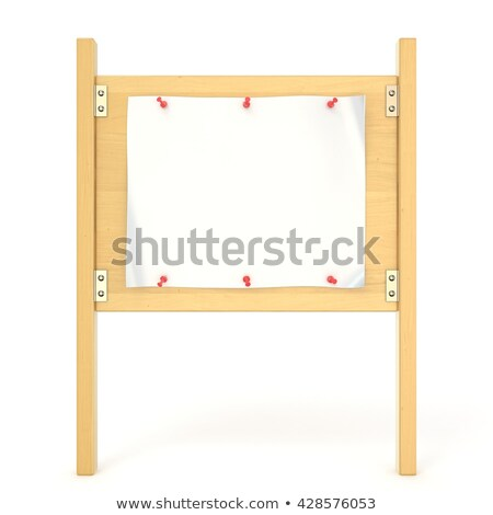 Wooden sign board with blank poster and red thumbtack. 3D Stock photo © djmilic