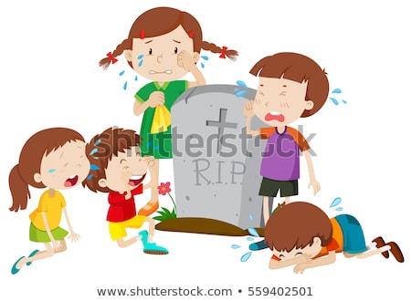 Nagrobek scena dzieci płacz ilustracja dziecko Zdjęcia stock © bluering