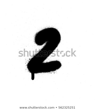 Graffiti numer dwa czarno białe sztuki piśmie Zdjęcia stock © Melvin07