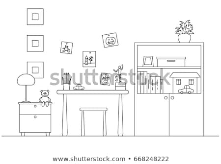 childrens room in the corner of the room is a bed next to a closet table chair vector illustra stock photo © arkadivna