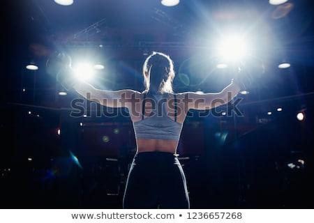 nő · box · trófea · vonzó · kaukázusi · visel - stock fotó © iofoto