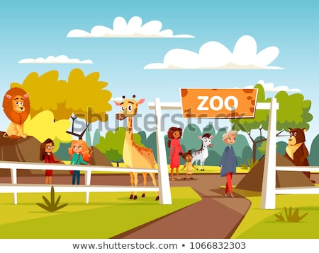 Children at the zoo entrance Stock photo © bluering