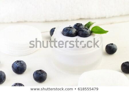 新鮮な ブルーベリー 美 クリーム jarファイル ガラス ストックフォト © jaykayl