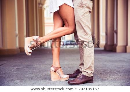 Pernas homem mulher casal em pé família Foto stock © tekso